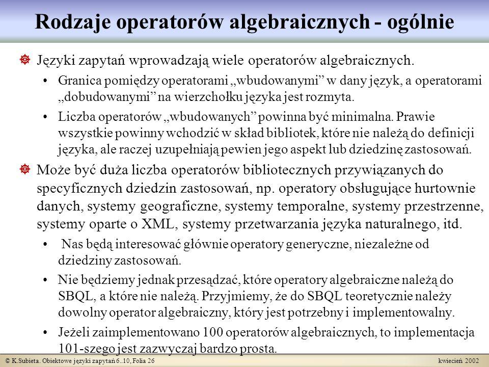 Rodzaje operatorów algebraicznych - ogólnie