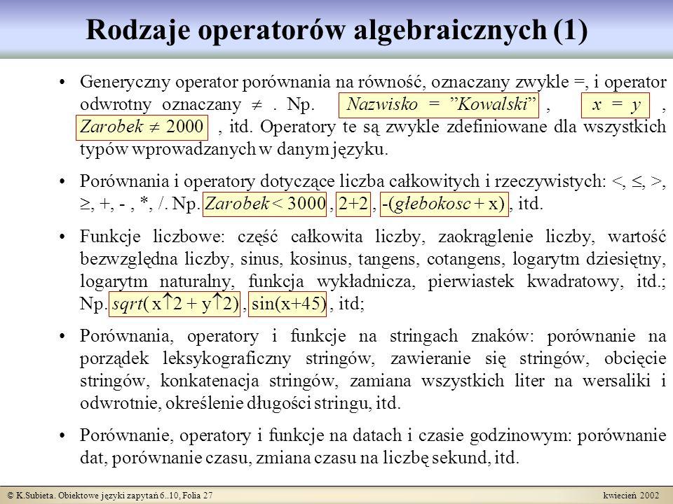 Rodzaje operatorów algebraicznych (1)