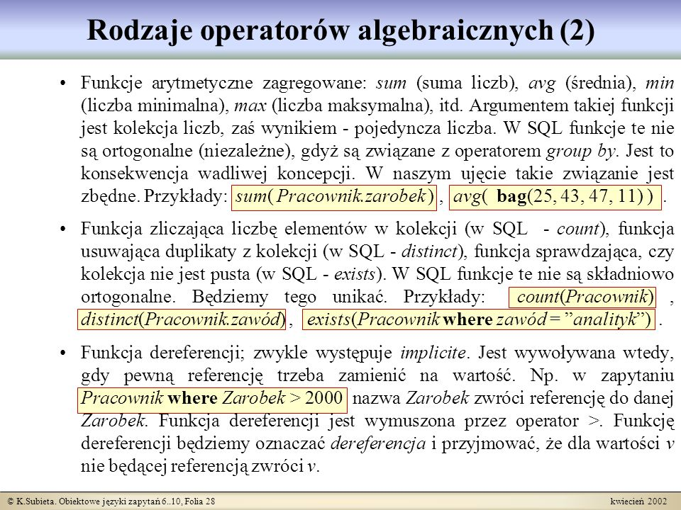 Rodzaje operatorów algebraicznych (2)