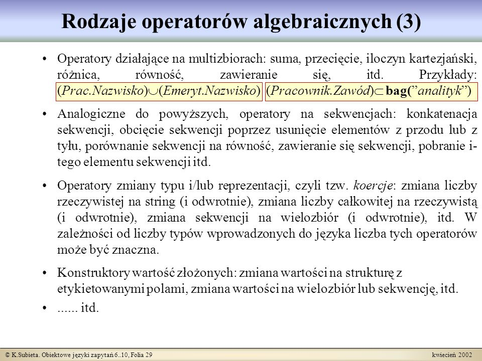 Rodzaje operatorów algebraicznych (3)