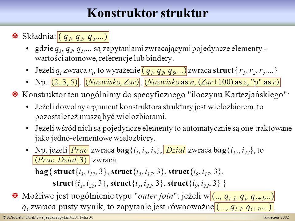 Konstruktor struktur Składnia: ( q1, q2, q3,...)