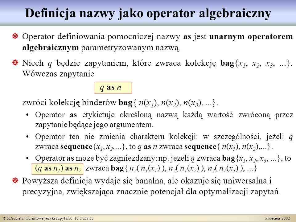 Definicja nazwy jako operator algebraiczny