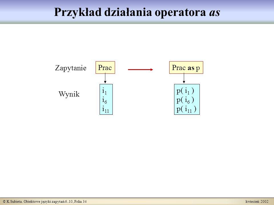 Przykład działania operatora as