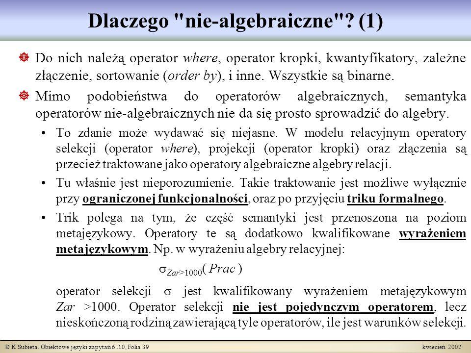 Dlaczego nie-algebraiczne (1)