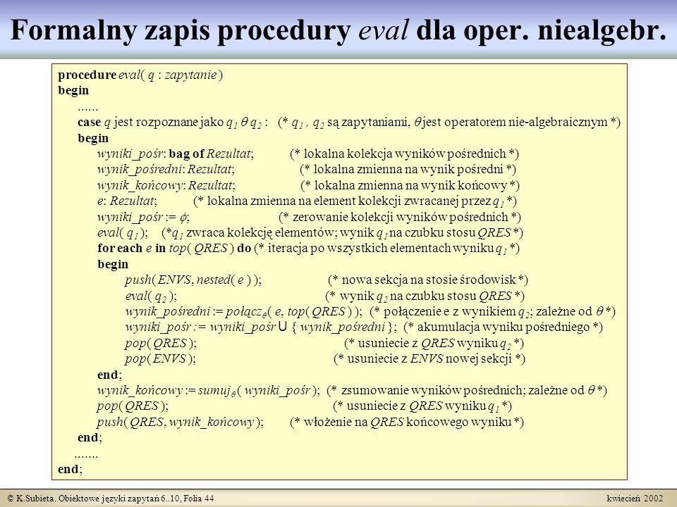Formalny zapis procedury eval dla oper. niealgebr.