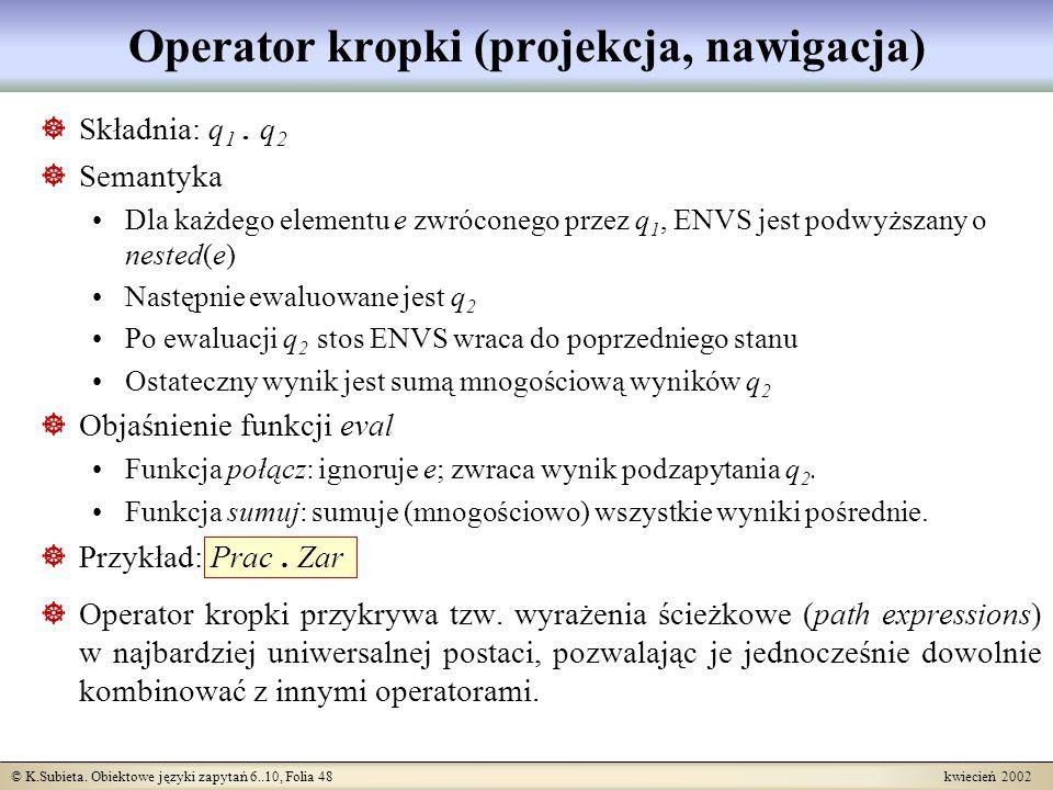 Operator kropki (projekcja, nawigacja)