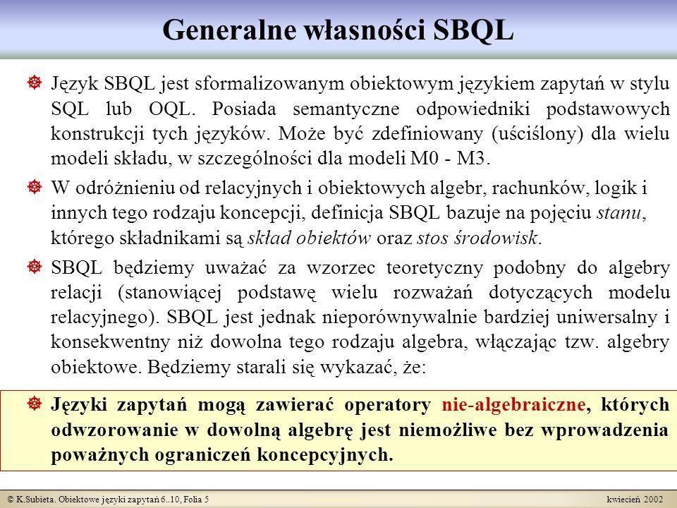 Generalne własności SBQL