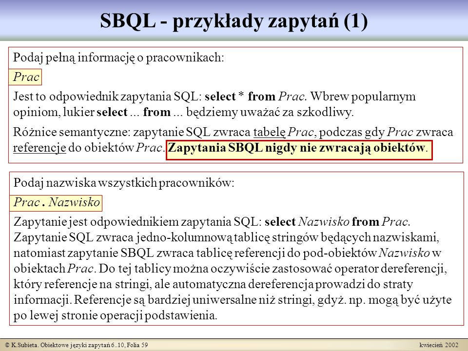 SBQL - przykłady zapytań (1)