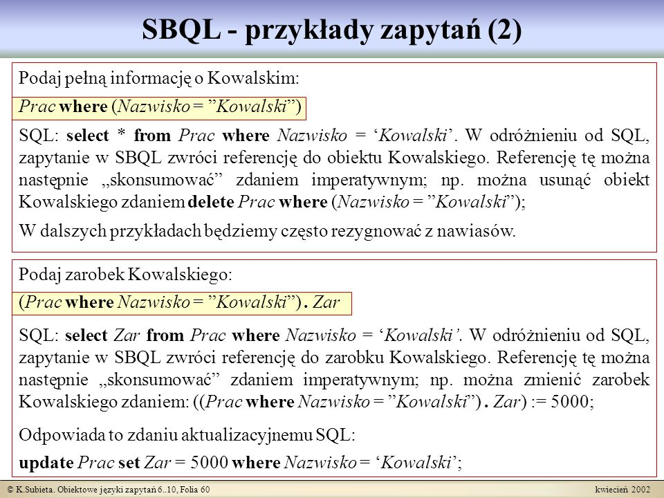 SBQL - przykłady zapytań (2)