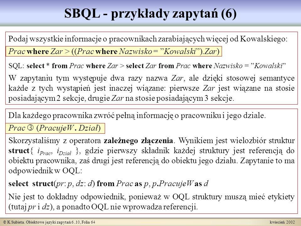 SBQL - przykłady zapytań (6)