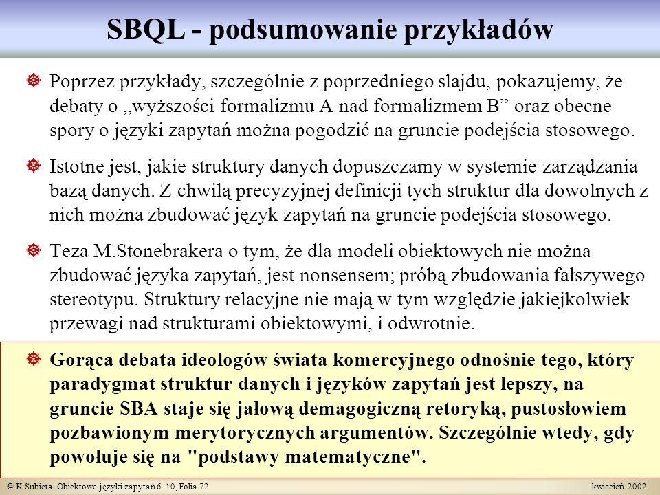 SBQL - podsumowanie przykładów