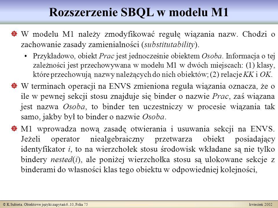 Rozszerzenie SBQL w modelu M1