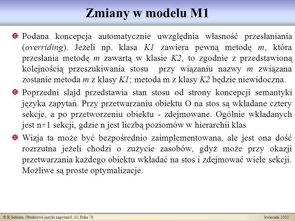 Zmiany w modelu M1