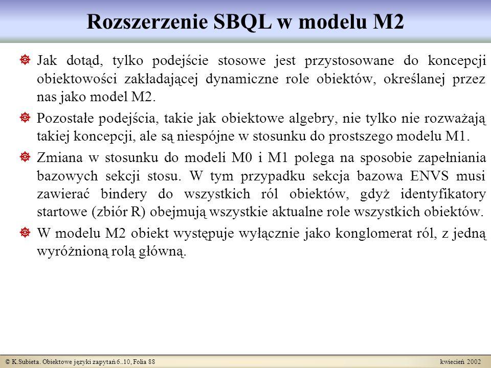 Rozszerzenie SBQL w modelu M2