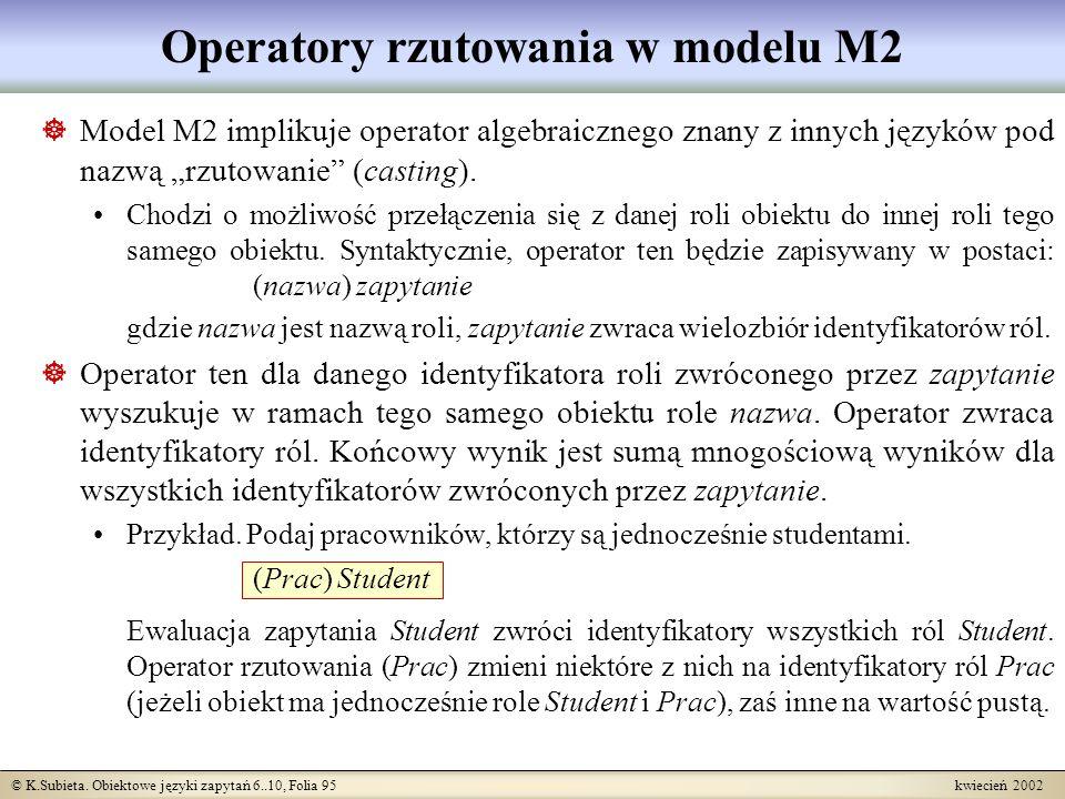 Operatory rzutowania w modelu M2