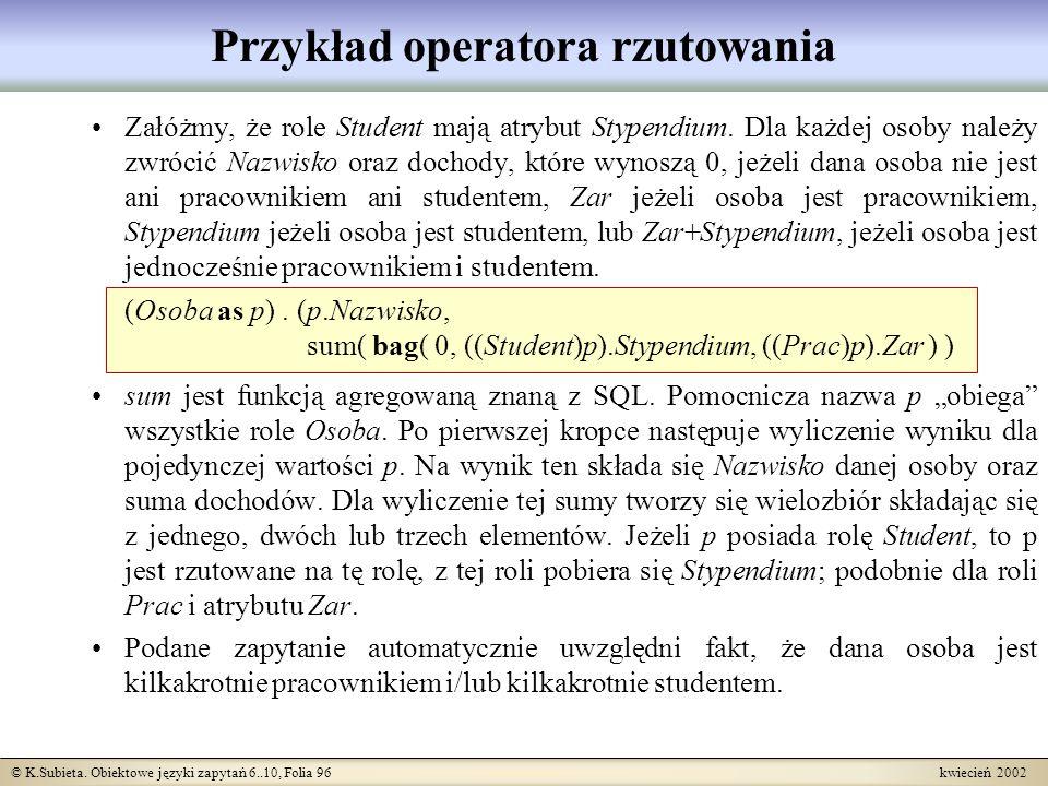 Przykład operatora rzutowania