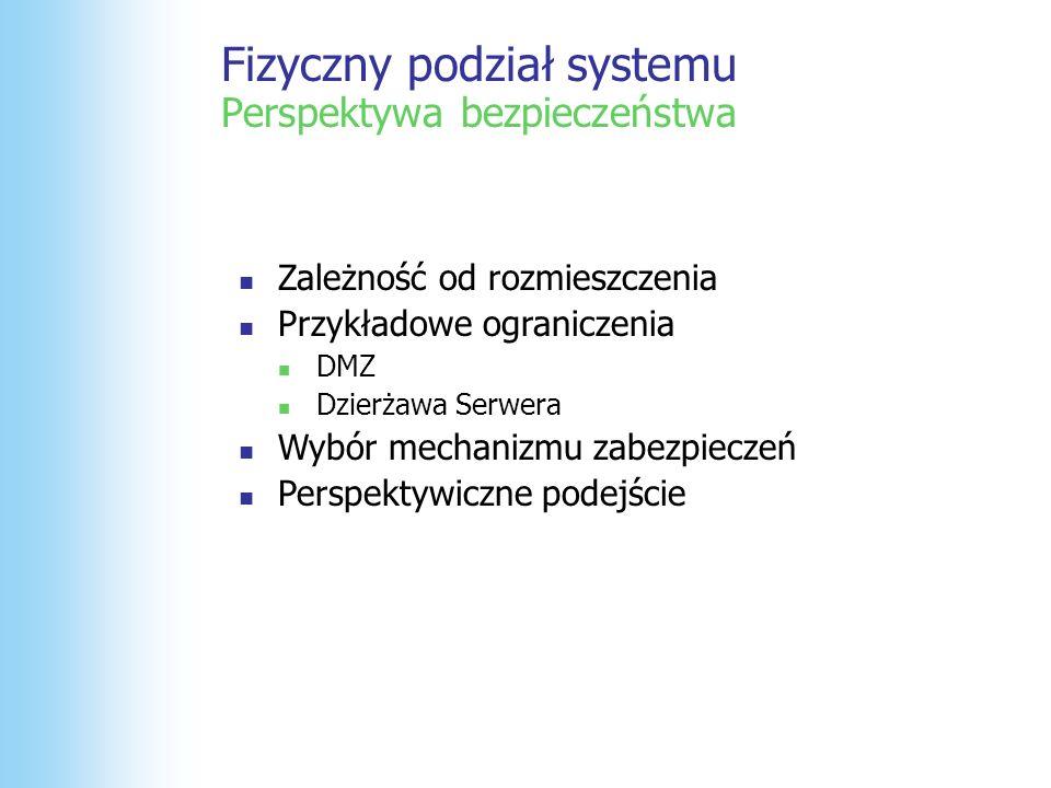 Fizyczny podział systemu Perspektywa bezpieczeństwa