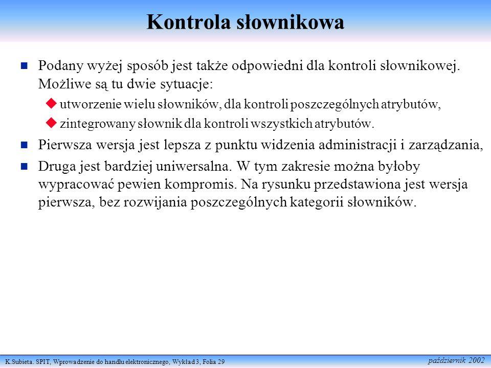 Kontrola słownikowa Podany wyżej sposób jest także odpowiedni dla kontroli słownikowej. Możliwe są tu dwie sytuacje: