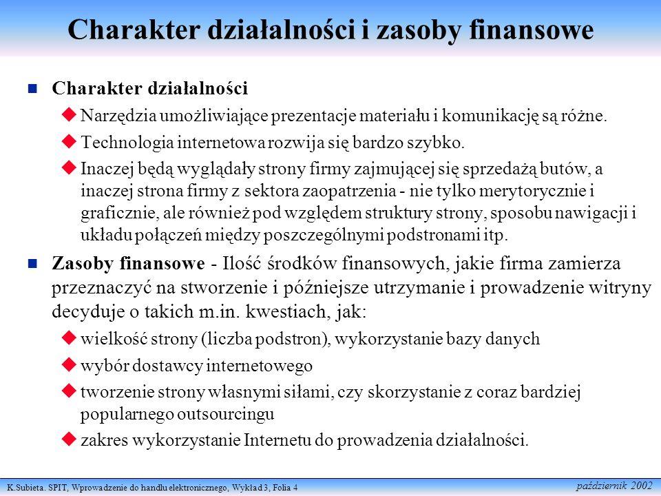 Charakter działalności i zasoby finansowe