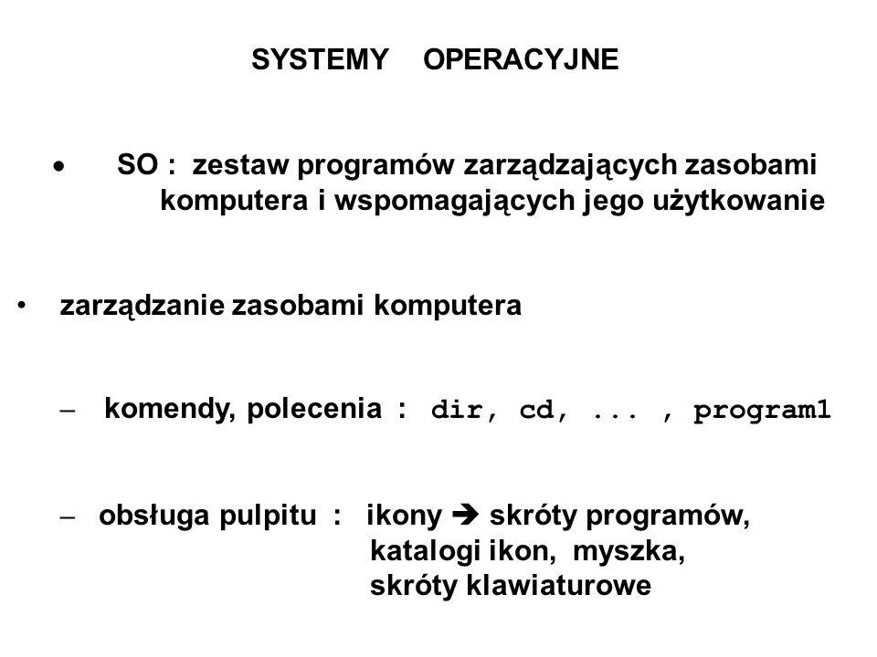 SYSTEMY OPERACYJNE· SO : zestaw programów zarządzających zasobami komputera i wspomagających jego użytkowanie.