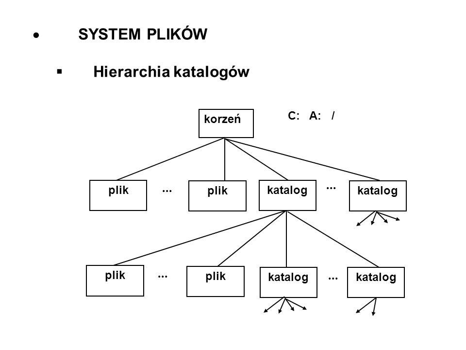 SYSTEM PLIKÓW Hierarchia katalogów korzeń C: A: / plik katalog ...