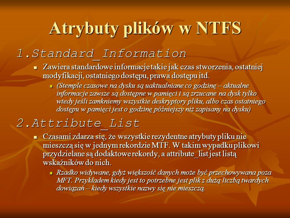 Atrybuty plików w NTFS Standard_Information Attribute_List