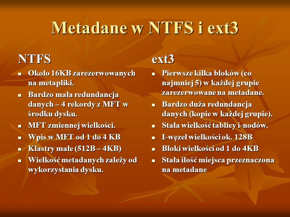 Metadane w NTFS i ext3 NTFS ext3