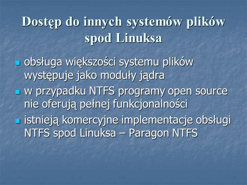 Dostęp do innych systemów plików spod Linuksa