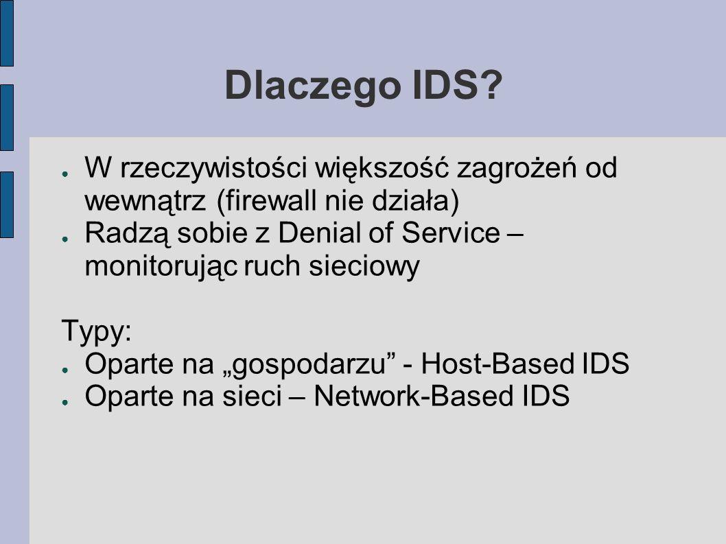 Dlaczego IDS W rzeczywistości większość zagrożeń od wewnątrz (firewall nie działa) Radzą sobie z Denial of Service – monitorując ruch sieciowy.