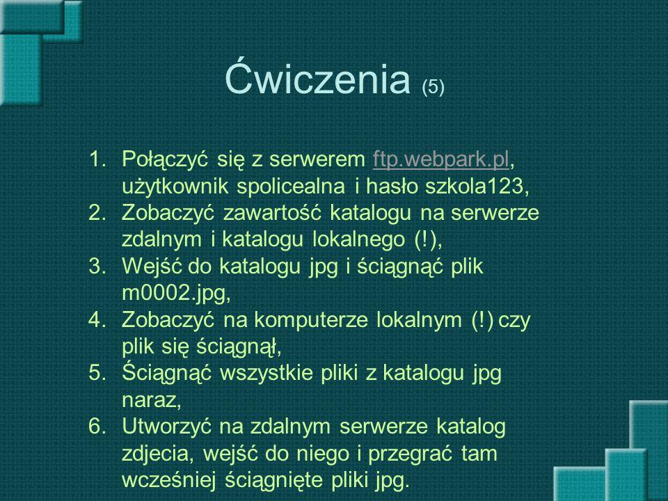 Ćwiczenia (5) Połączyć się z serwerem ftp.webpark.pl, użytkownik spolicealna i hasło szkola123,