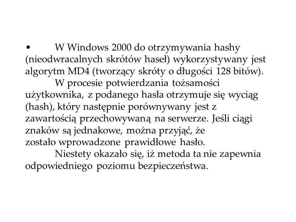 W Windows 2000 do otrzymywania hashy (nieodwracalnych skrótów haseł) wykorzystywany jest algorytm MD4 (tworzący skróty o długości 128 bitów).