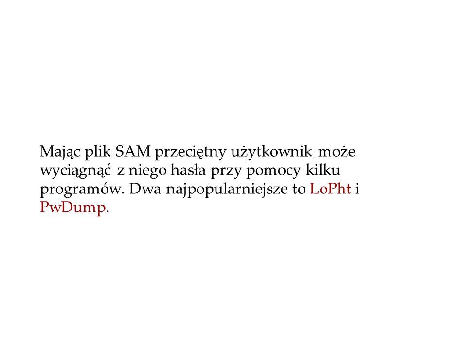 Mając plik SAM przeciętny użytkownik może wyciągnąć z niego hasła przy pomocy kilku programów.
