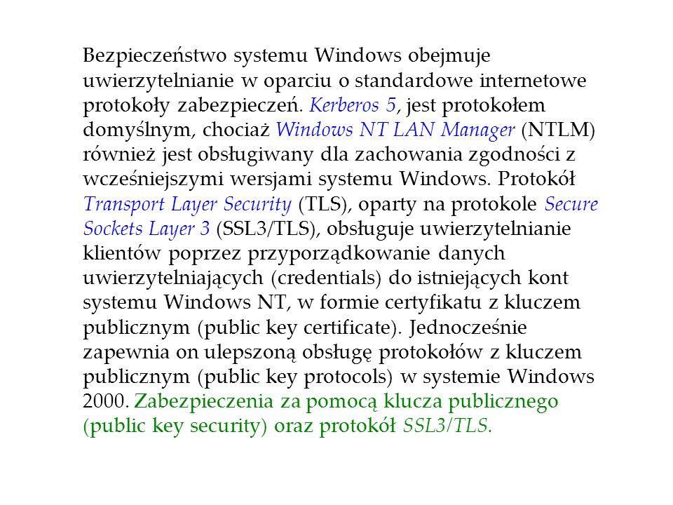 Bezpieczeństwo systemu Windows obejmuje uwierzytelnianie w oparciu o standardowe internetowe protokoły zabezpieczeń.