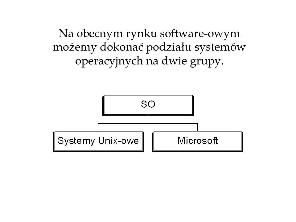 Na obecnym rynku software-owym możemy dokonać podziału systemów operacyjnych na dwie grupy.