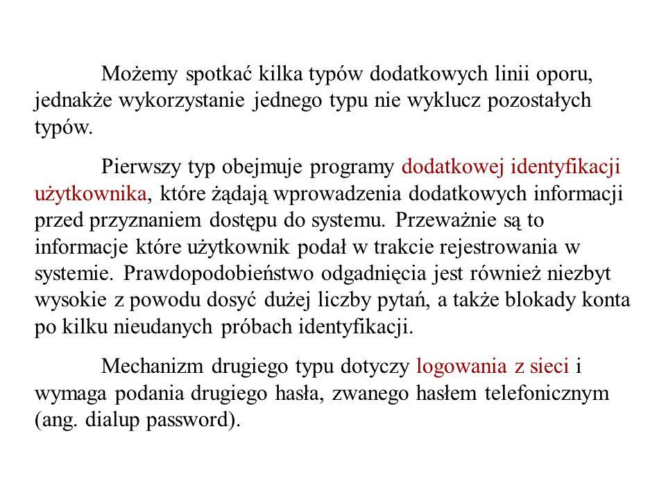 Możemy spotkać kilka typów dodatkowych linii oporu, jednakże wykorzystanie jednego typu nie wyklucz pozostałych typów.