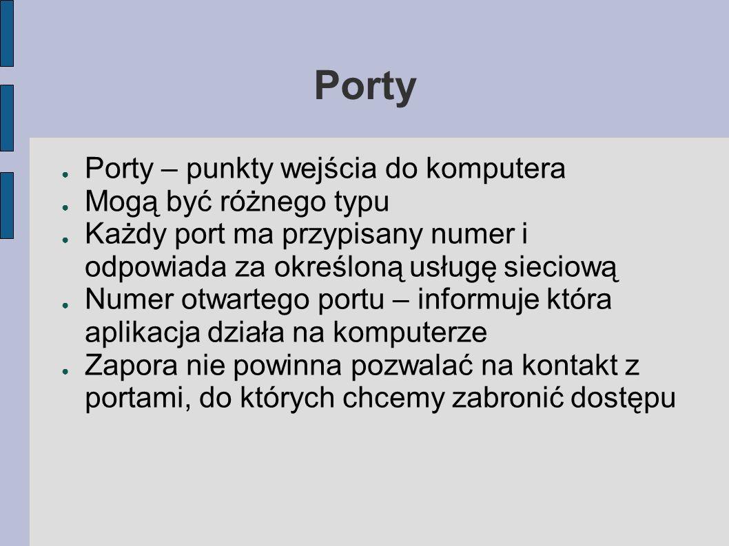 Porty Porty – punkty wejścia do komputera Mogą być różnego typu