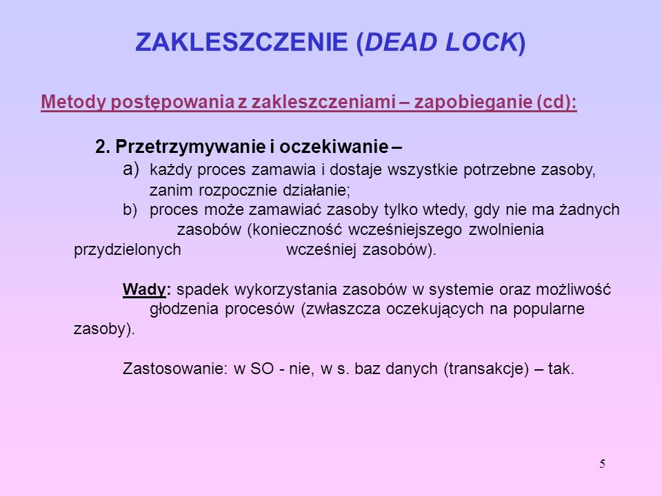 ZAKLESZCZENIE (DEAD LOCK)