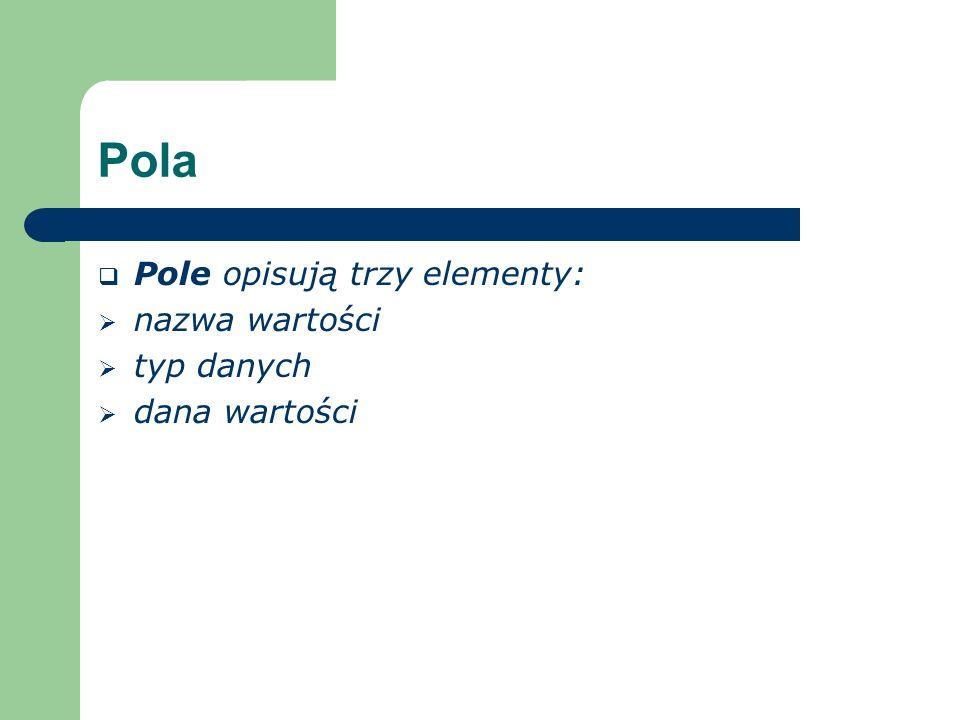 Pola Pole opisują trzy elementy: nazwa wartości typ danych