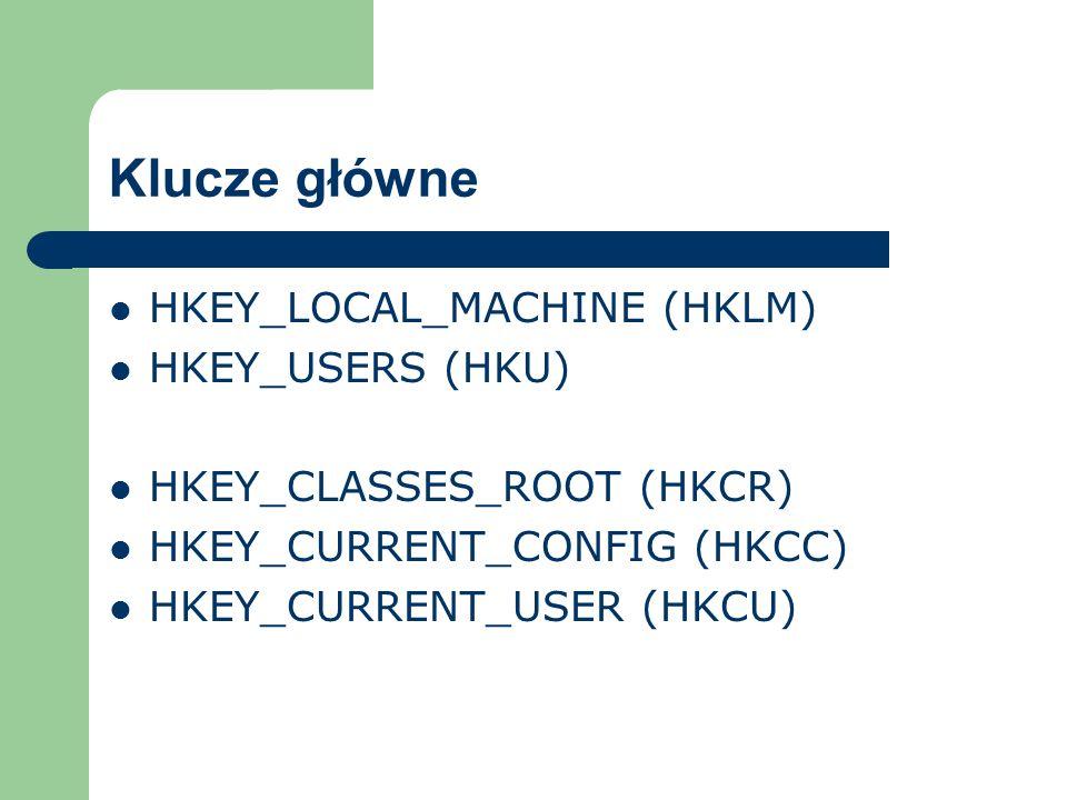 Klucze główne HKEY_LOCAL_MACHINE (HKLM) HKEY_USERS (HKU)