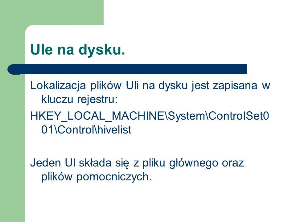 Ule na dysku.Lokalizacja plików Uli na dysku jest zapisana w kluczu rejestru: HKEY_LOCAL_MACHINE\System\ControlSet001\Control\hivelist.