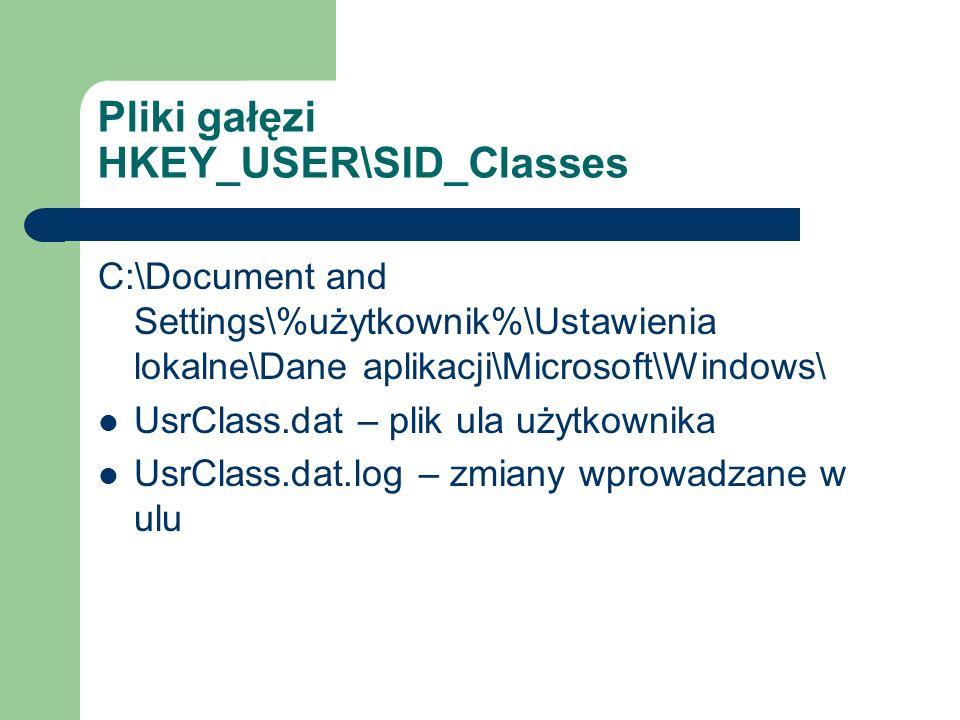 Pliki gałęzi HKEY_USER\SID_Classes