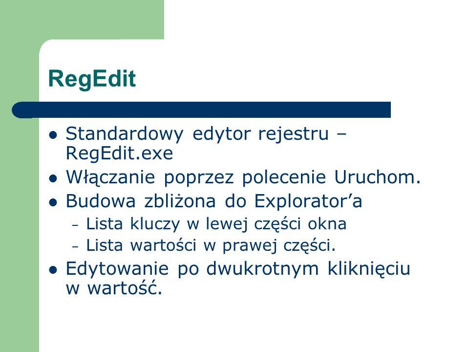 RegEdit Standardowy edytor rejestru – RegEdit.exe