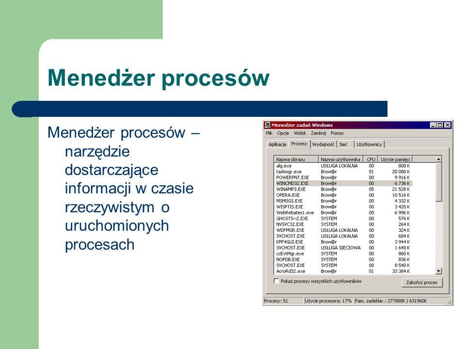 Menedżer procesów Menedżer procesów – narzędzie dostarczające informacji w czasie rzeczywistym o uruchomionych procesach.