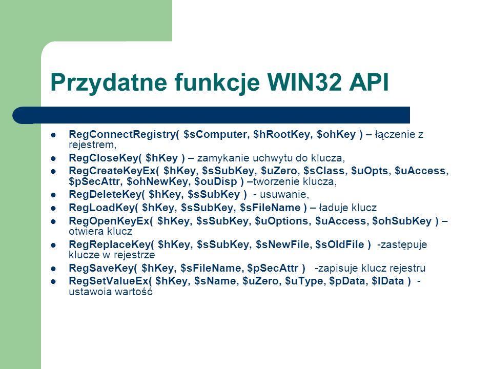 Przydatne funkcje WIN32 API