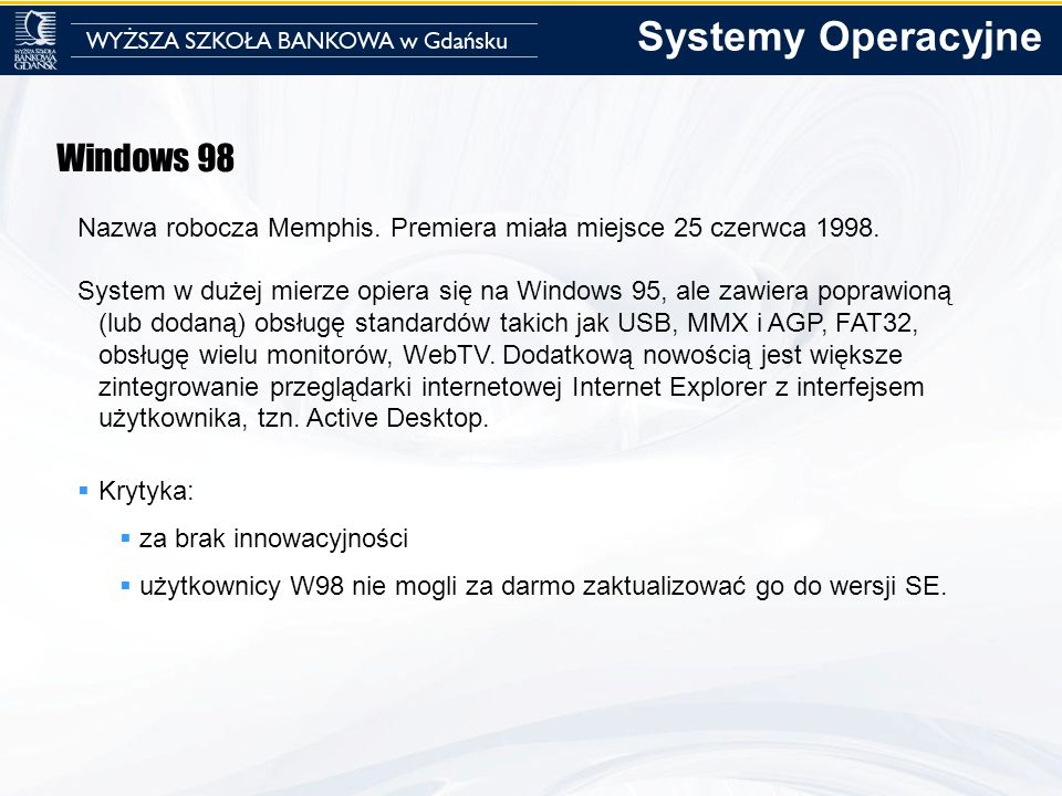 Systemy Operacyjne Windows 98