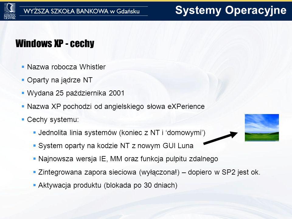 Systemy Operacyjne Windows XP - cechy Nazwa robocza Whistler
