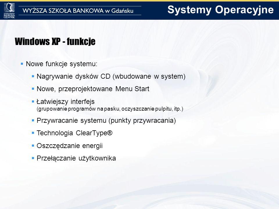 Systemy Operacyjne Windows XP - funkcje Nowe funkcje systemu: