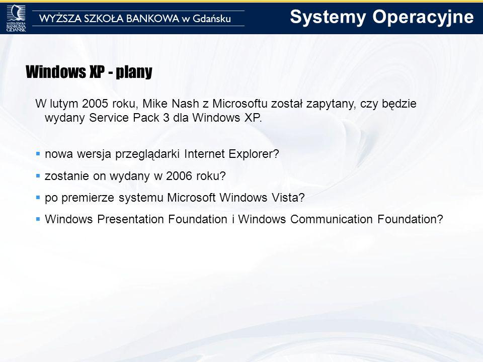 Systemy Operacyjne Windows XP - plany