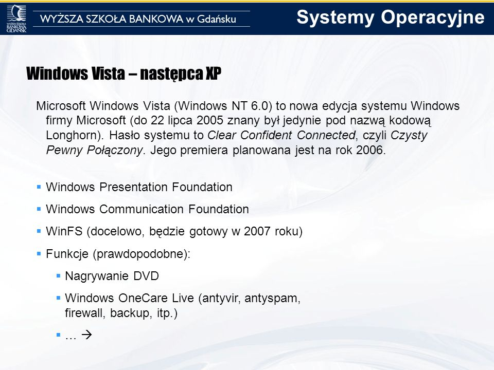 Systemy Operacyjne Windows Vista – następca XP