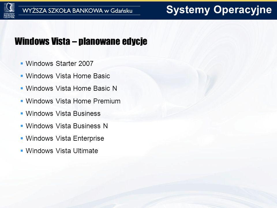 Systemy Operacyjne Windows Vista – planowane edycje